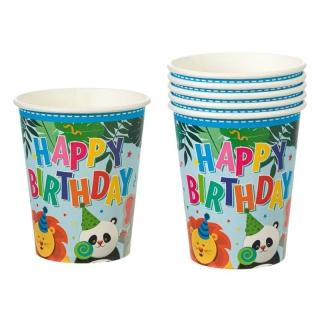 Хартиена парти чашка Сафари, животни, джунгла, 270 мл, пакет 6бр.