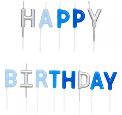 Свещички букви за рожден ден с текст Happy Birthday, сини и сребърни