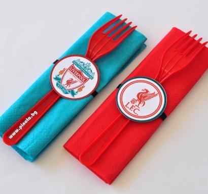 Парти комплект салфетка и вилица Ливърпул, 5 бр. пакет