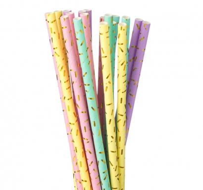 Сламки Сладолед картон еко, 20 бр. в опаковка различни пастелни цветове