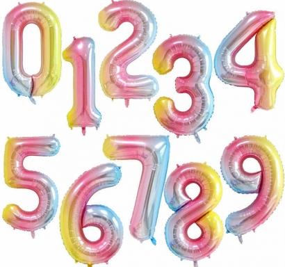 Фолиев балон цифра  0-9 цвят дъга - 41 см височина