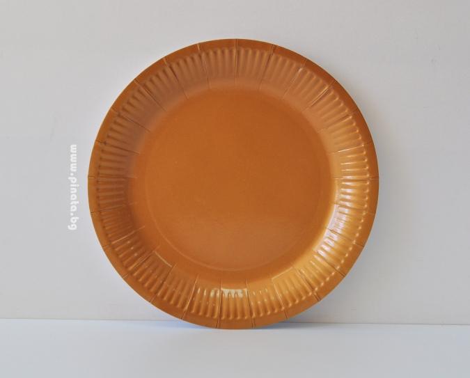 Хартиена парти чинийка, 23 см диаметър златна