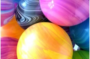 Балон мраморен /Marble/ QL  розово-лилав, диаметър 30 см, /Gd/