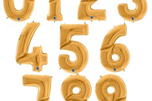 """Фолиев балон мини цифра 0-9 цвят злато - 35 см височина /14""""/"""