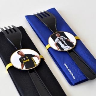 Парти комплект салфетка и виличка Роналдо Ювентус 33х33 см