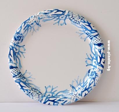 Хартиена парти чинийка Морско дъно  23 см / Blue Reef