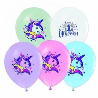 Балон с печат Еднорог, диаметър 30 см, 5 бр. в пакет, лицензирани