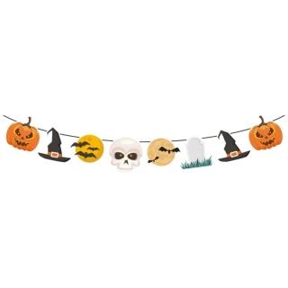 Банер гирлянд за декорация Хелоуин / Happy Haloween, 1,40 м дължина, 8 бр. фигури