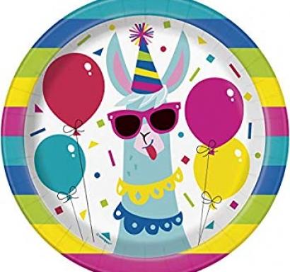 Хартиена парти чинийка Лама Рожден Ден 18 см, Birthday Llama