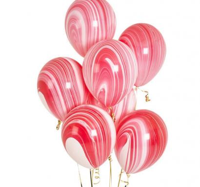Балони Мрамор/Marble преливащи цветове червено, розово и бяло, диаметър 30 см, 10 бр. в опаковка