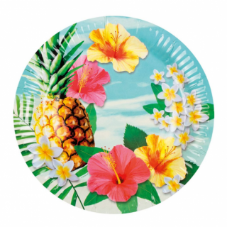 Хартиена парти чинийка Хавайско парти / Hawaiian Paradise, 23 см. диаметър, 6 бр. в опаковка /Gd/