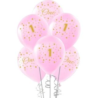 Комплект 10 бр. розови балони с печат цифра 1 и звезди / Първи рожден ден момиче