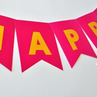 Банер комплект Happy Birthday / Честит Рожден Ден, циклама със златни букви