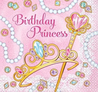 Парти салфетки розова Принцеса 16 бр в пакет, Pink Princess