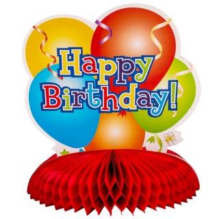 Украса за маса /тип пчелна пита/ различни балони с надпис Happy Birthday 28х34см