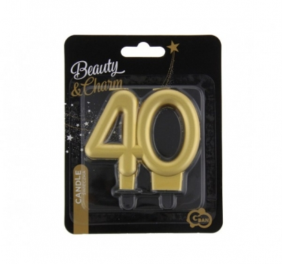 Свещичка за рожден ден, металик цвят злато, юбилей 40 години /Gd/