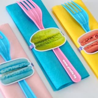 Парти комплект салфетка и вилица Макарон, 5 бр. пакет