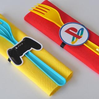 Парти комплект салфетка и вилица Плейстейшън, 5 бр. пакет