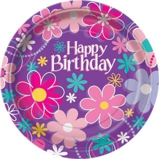 Хартиена парти чинийка Рожден ден цветя 23 см / Birthday Blossom