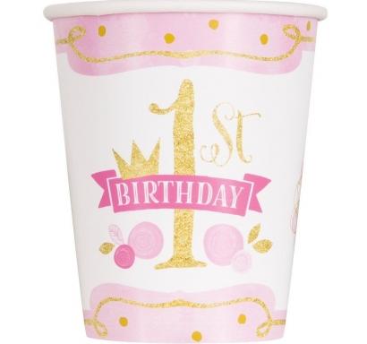 Хартиена парти чашка  Първи Рожден Ден в златно и розово 250 мл, First Birthday, 8 бр. в опаковка