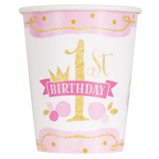 Хартиена парти чашка  Първи Рожден Ден в златно и розово 250 мл, First Birthday