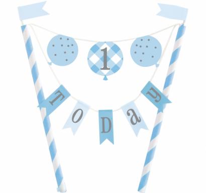 Декорация за торта Първи рожден ден в синьо райе / Cake Topper First Birthday Gingham /Gd/