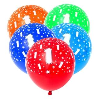 Комплект 5 бр. латексови балони с печат цифра 1, микс цветове