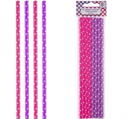 Картонени сламки циклама и лилаво 8 бр опаковка