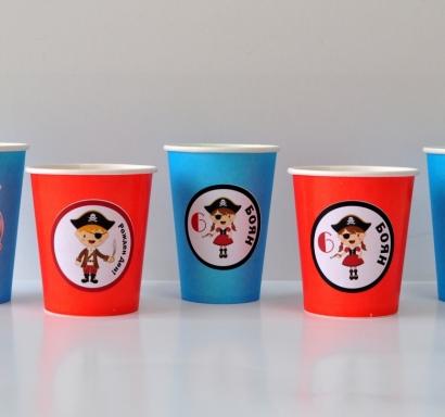 Персонализирана хартиена парти чашка 250 мл Пирати, 5бр. пакет