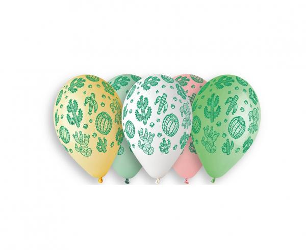 Комплект 5 бр. премиум балони с печат Кактус, микс пастелни цветове Gemar /Gd/
