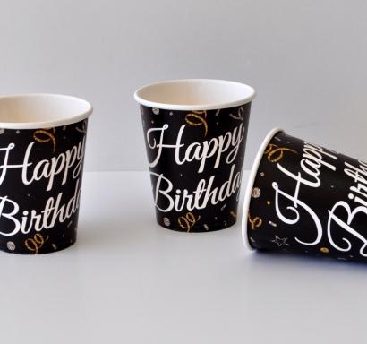 Хартиена парти чашка Честит Рожден Ден /Happy Birthday, черна със златни и сребърни конфети
