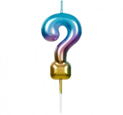Свещичка за рожден ден въпросителна ?, цвят металик дъга - преливащи цветове