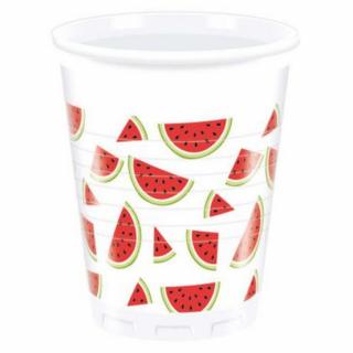 Пластмасова парти чашка Диня / Watermelon, 200 мл. 8бр. в опаковка /Gd/