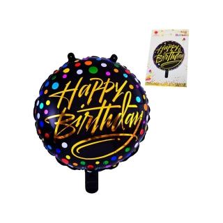 """Балон Рожден Ден / """"Happy Birthday"""" черно и златно точки /фолио/, 45х45 см"""