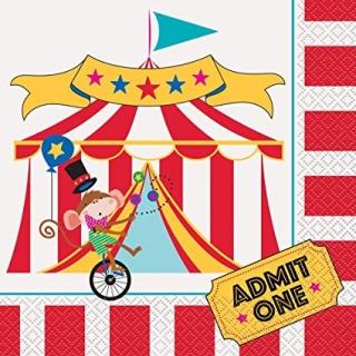 Парти салфетки Цирк Карнавал 16 бр в пакет, Cirkus Carnival