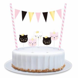 Декорация за торта с 5 свещички Котета / Cat, 25см /Gd/