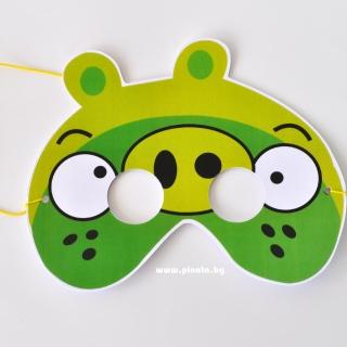 Парти маска Енгри Бърдс Ленард - зелено прасе