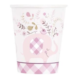 Хартиена парти чашка 250 мл Бебе, момиче, слонче с флорални елементи /  Pink Floral Elephant, 8 бр. в опаковка