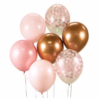 Комплект 7 бр. латексови балони - розово злато хром, розови и прозрачни с печат розови конфети /Gd/
