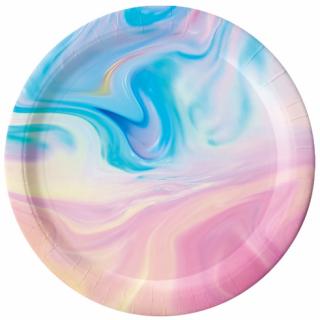 Хартиена парти чинийка Пастел мрамор / Pastels 23 см. диаметър, 6 бр. в опаковка /Gd/