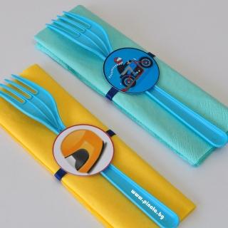 Парти комплект салфетка и вилица Мотор моторист, 5 бр. пакет