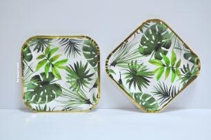 Хартиена чинийка Зелени листа със злато премиум, 21х21 см