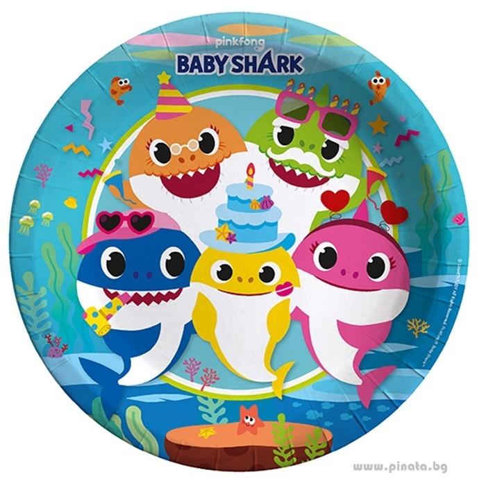 Хартиена парти чинийка Бейби Шарк 23 см, / Baby Shark, 8 бр. в опаковка