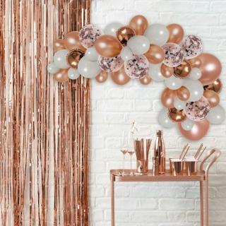 Комплект за украса с балони тип арка, 70 бр. балони в бяло и розово злато с конфети