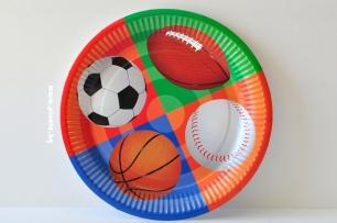 Хартиена парти чинийка Топки Спорт, 23 см