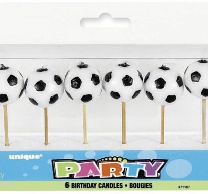 Свещички за рожден ден футболни топки, 6 броя