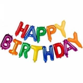 Цветен надпис от балони Честит Рожден Ден Happy Birthday
