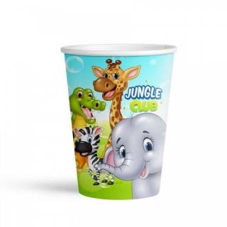 Хартиена парти чашка Джунгла, Сафари, Животни 250 мл, пакет 8бр.