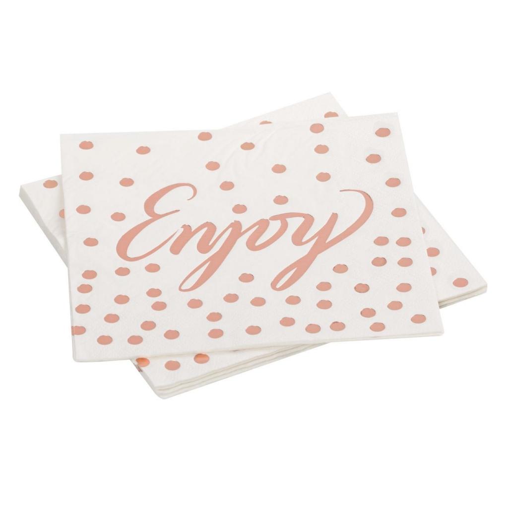 Парти салфетки бели със розово злато блестящи точки и надпис Enjoy, 12 бр в пакет