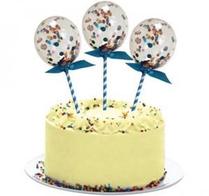 Декорация за торта - прозрачни балони с конфети - диаметър 10 см. 3 бр. в опаковка